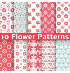 Different flower seamless patterns tiling vector