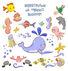 Collection of marine animals and fish vector