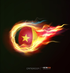 Cameroon flag with flying soccer ball on fire vector