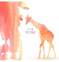 Giraffe animal watercolor background vector