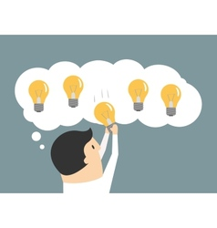 Businessman choosing the best idea light bulb vector