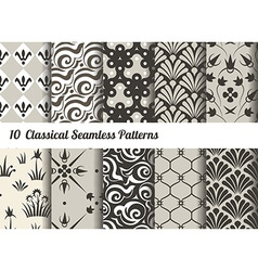 Seamless pattern background set of 10 classical vector