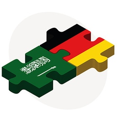 Saudi arabia and germany flags in puzzle vector