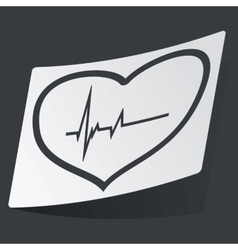 Monochrome cardiology sticker vector