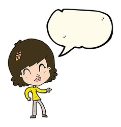 Cartoon happy woman pointing with speech bubble vector