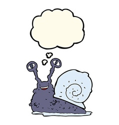 Cartoon snail with thought bubble vector