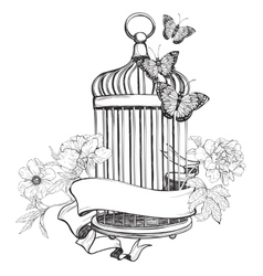 Birdcage wih ribbon flowers and butterfly vector