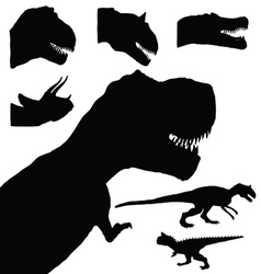 Dinosaur set adorable black color animal vector