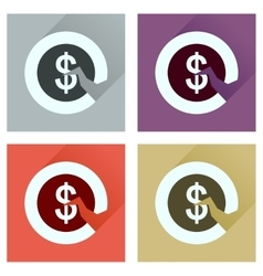 Concept of flat icons with long shadow dollar cent vector