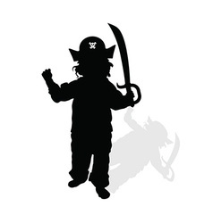 Child with pirate hat and sword silhouette vector