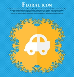 Auto Floral flat design on a blue abstract vector image