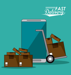 Background smartphone and hand truck packages fast vector