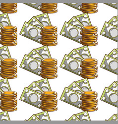 Bills and coins cash moey currency background vector