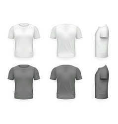 Black and white t-shirt front side back view vector