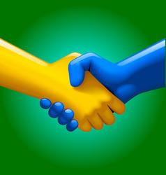 Blue and yellow handshake vector