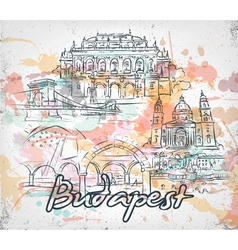 budapest doodles with grunge vector image