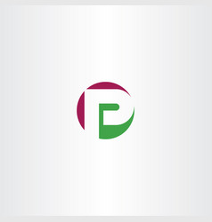 Circle logotype p letter icon vector