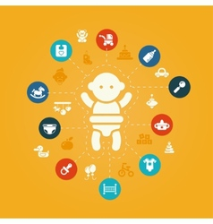 concept flat design cute baby composition with i vector image
