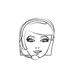 contour face woman technological services icon vector image