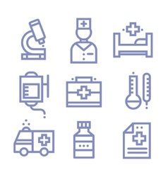 Contour simple medical icons set vector image vector image