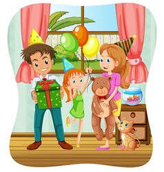 Family having birthday party vector