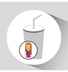 Girl cartoon and cup soda icon cinema graphic vector