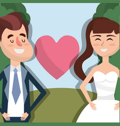 Happy couple married with heart vector