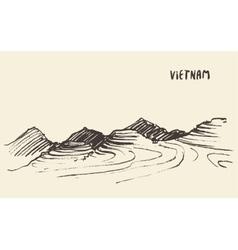 Landscape rice fields mu cang chai vietnam vector