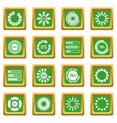 Loading bars and preloaders icons set green vector