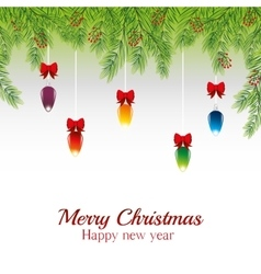 Merry christmas card happy new year balls ribbon vector
