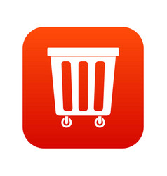 outdoor plastic trash can icon digital red vector image