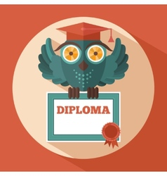 Owl in graduation cap vector image