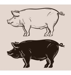 Pig logo farm pork or piggy icon vector