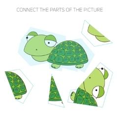 Puzzle game for chldren turtle vector