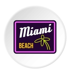 Road sign miami beach icon flat style vector
