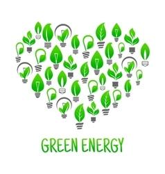 Saving energy icon with heart made of light bulbs vector image vector image