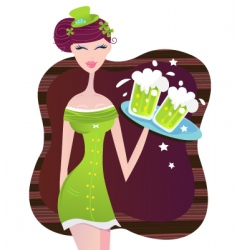 st Patrick's day Irish girl vector image