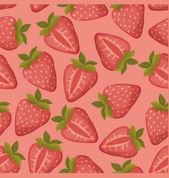 Strawberries seamless pattern with pink vector