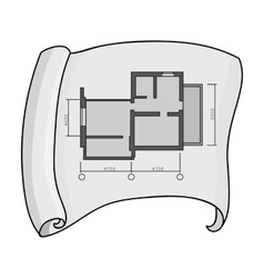 Technical drawing of house icon in monochrome vector