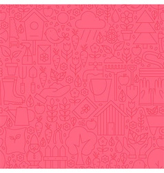 Thin Gardening Tools Line Seamless Pink Pattern vector image vector image