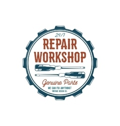 Vintage label design repair workshop emblem in vector