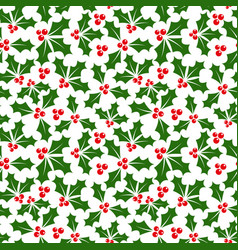 winter background of holly seamless pattern vector image