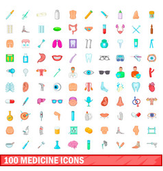 100 medicine icons set cartoon style vector