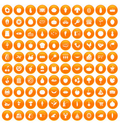 100 natural products icons set orange vector
