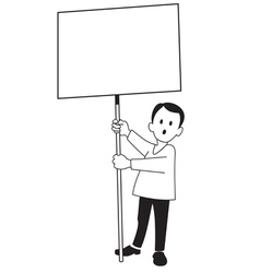 A boy with a poster vector