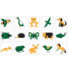Icons for geometric animals insects and birds vector