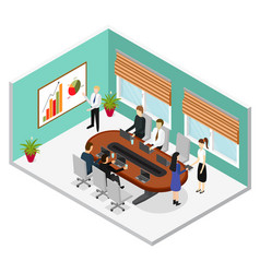Interior office conference room isometric view vector