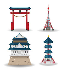 Japan travel building collection set vector