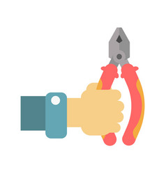 Flat-nose pliers in human hand vector