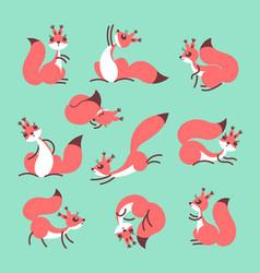 Cartoon cute squirrel little funny squirrels vector